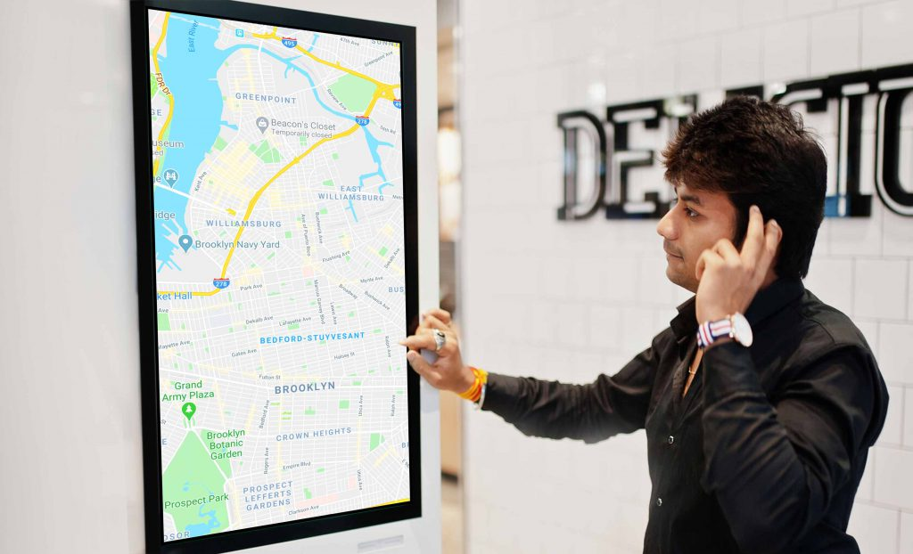 Using a self-service kiosk at Public Space
