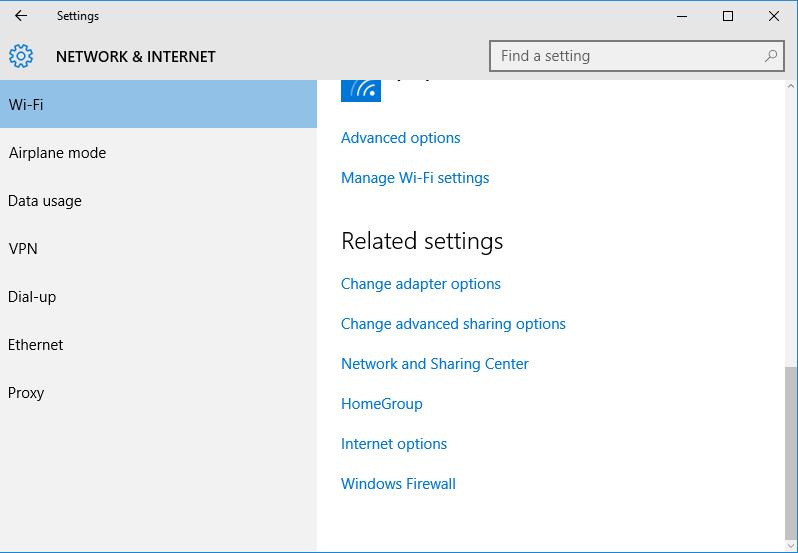Windows Wi-Fi Settings
