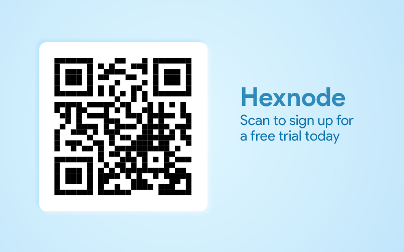 Scan to sign up for Hexnode