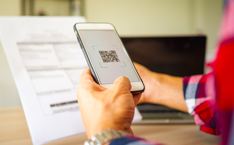 Scanning the QR code to go to a website