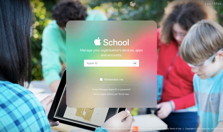 Apple School Manager login screen
