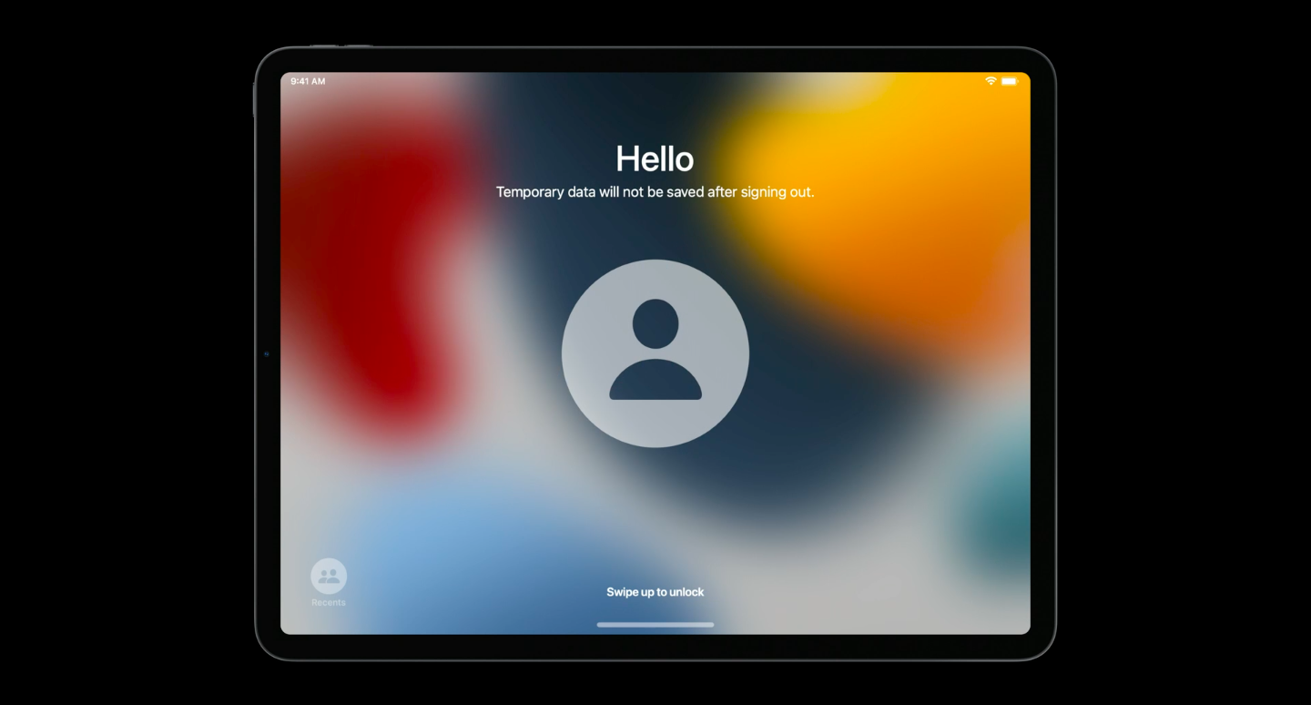 Temporary session shared iPad WWDC 2021 device management