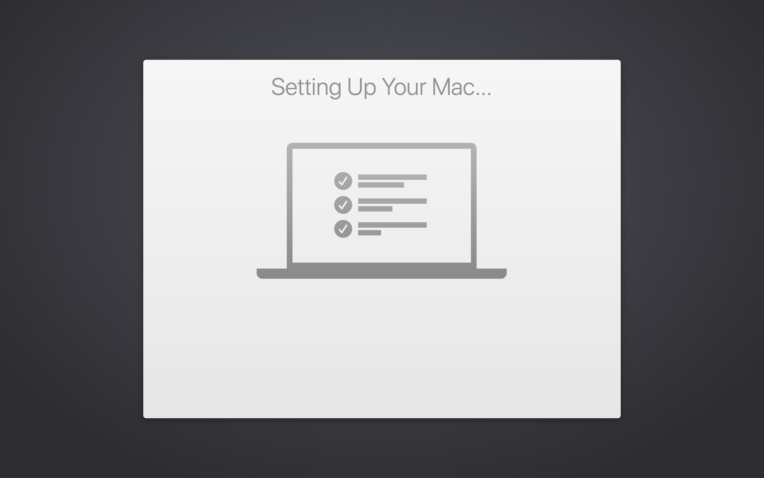 Setup Screen of Mac