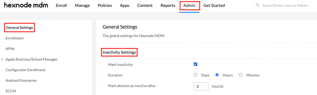 Device Inactivity Settings