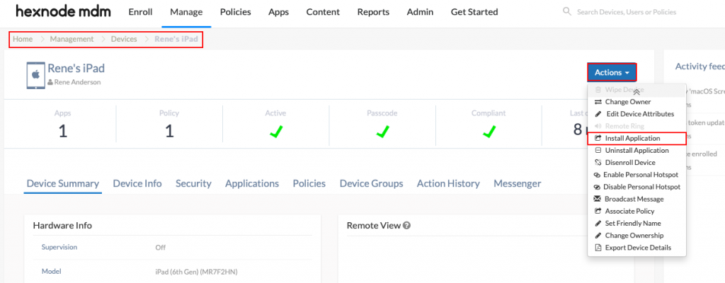 installing apps via actions