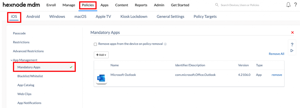 Installing Apps from Hexnode portal