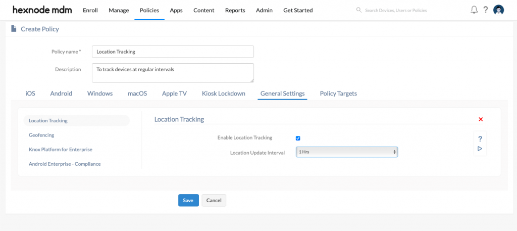 Enabling location tracking