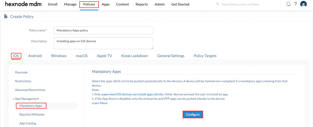 Installing apps via policy