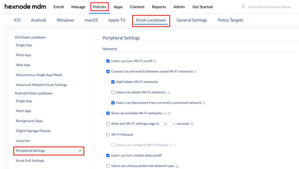 Enabling network settings
