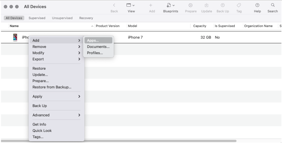 On Apple Configurator 2, right click on your device and select Add from the list to add apps to your device.