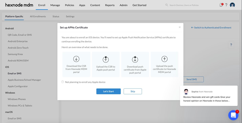 Set up APNs certificate