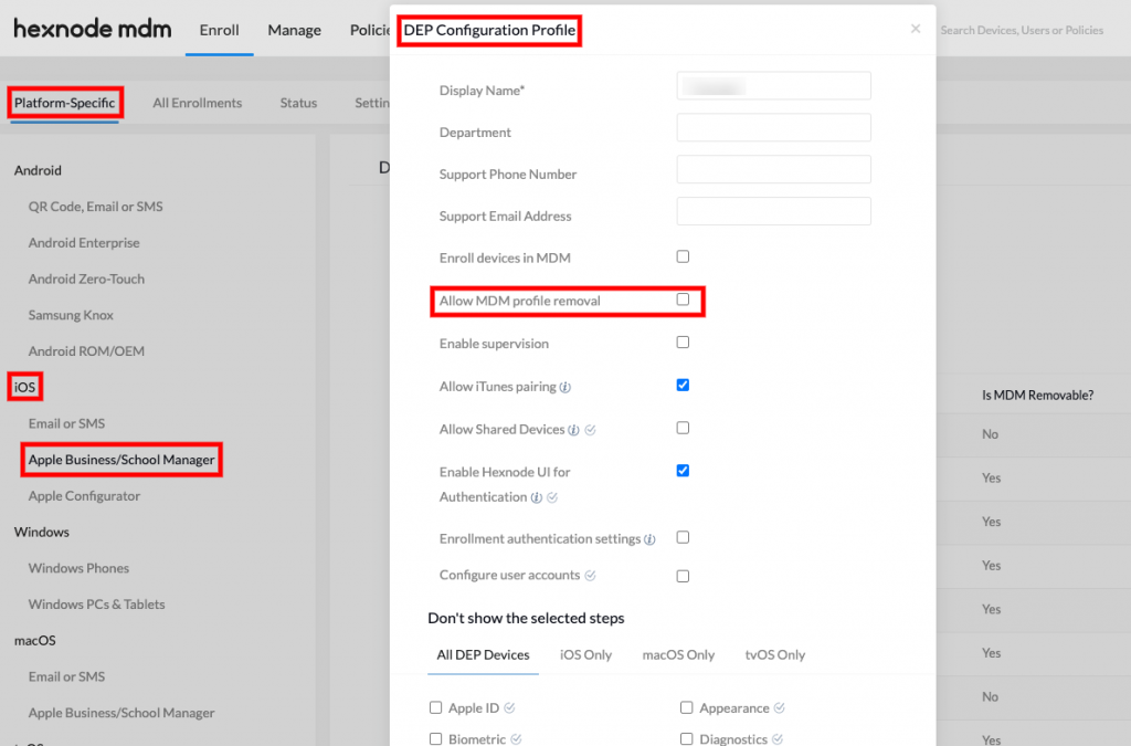 Disabling the 'Allow MDM profile removal' option