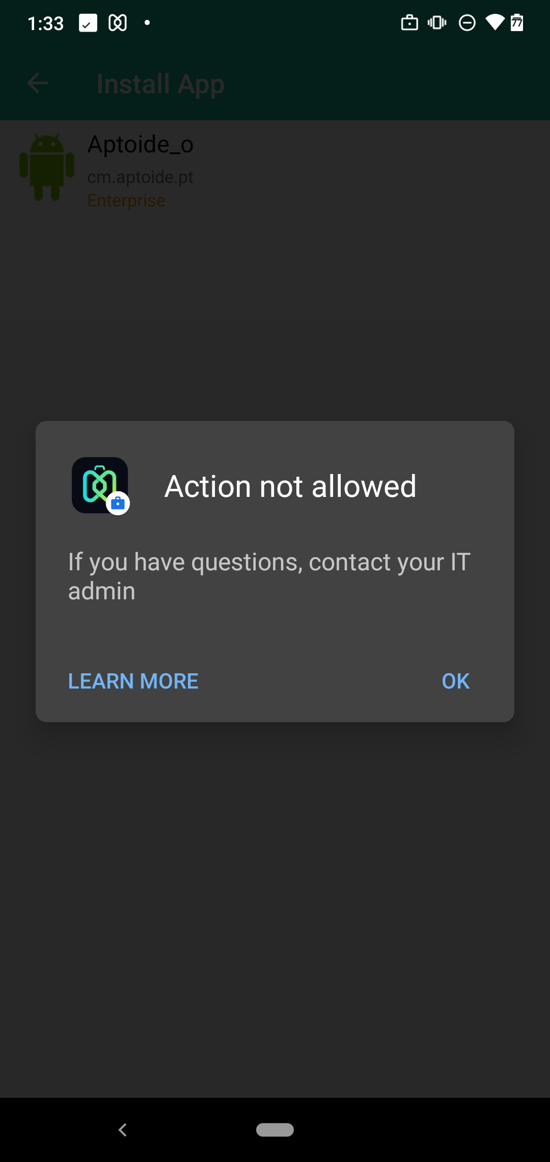Action not allowed