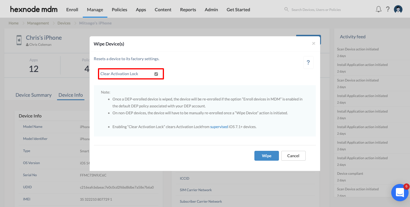 Select Clear Activation Lock before proceeding to wipe your device.