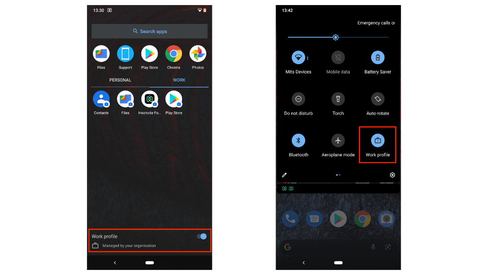 toggle the work profile on/off in Android