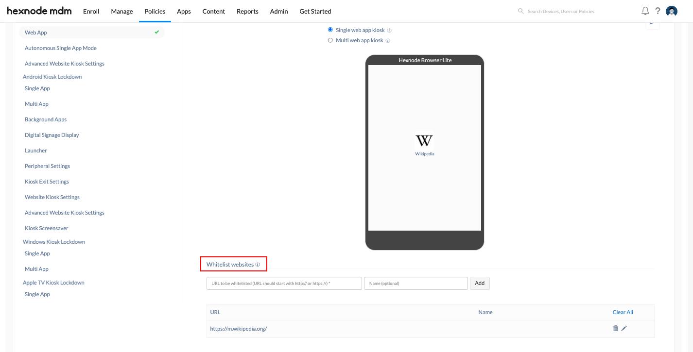 iOS web app kiosk policy - whitelist URLs