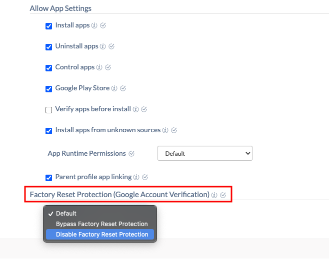 Disabling Factory Reset Protection
