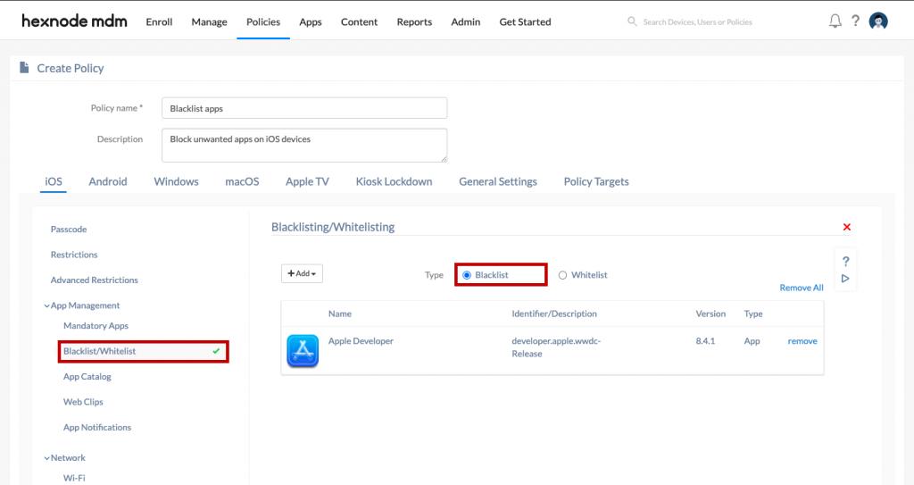 Blacklisting apps using Hexnode MDM