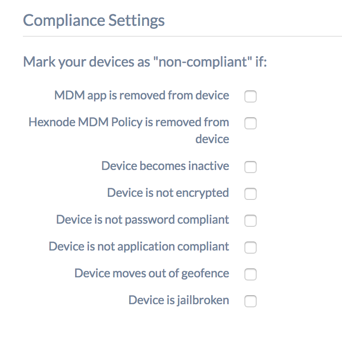 configure compliance settings in hexnode mdm