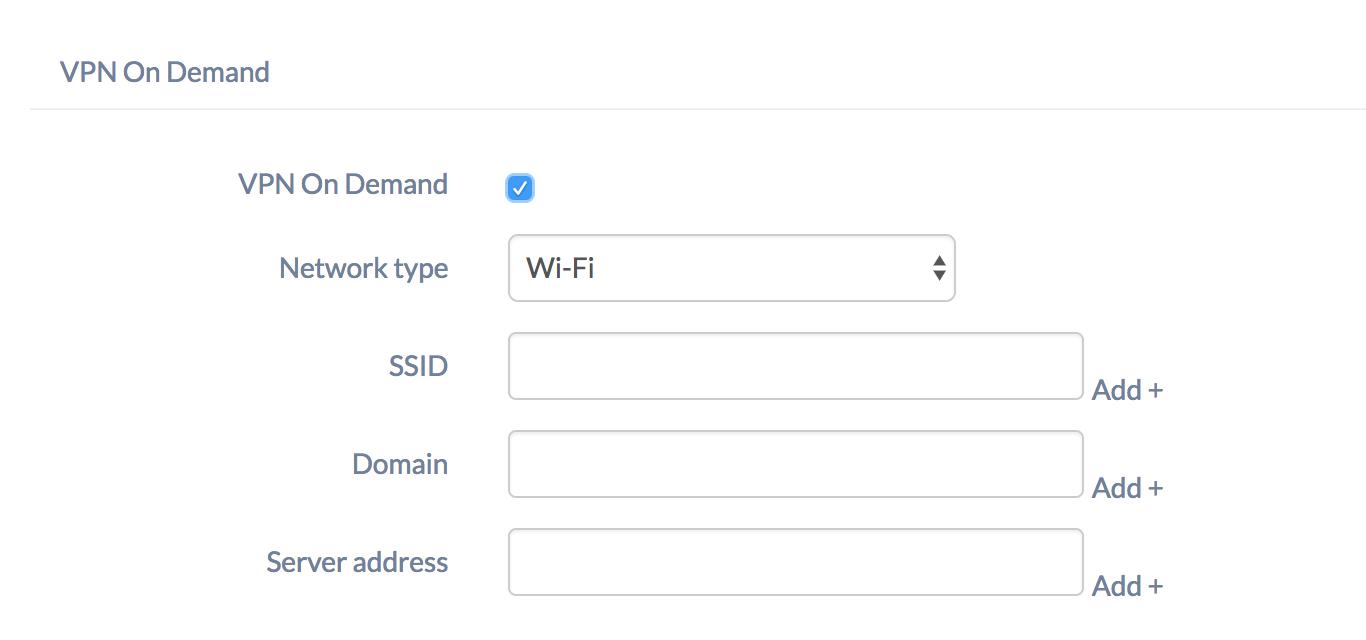 VPN settings for iOS MDM