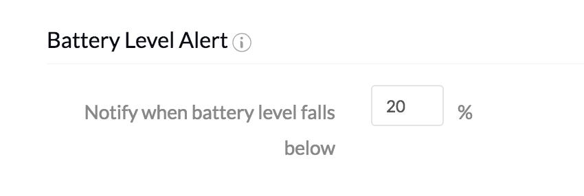 MDM Settings - Battery Level Alert