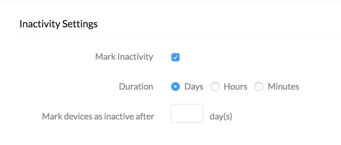 MDM Settings - Inactivity Settings
