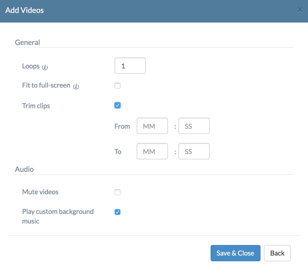 Video Screensaver settings