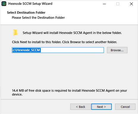 Provide the destination location to install the SCCM agent app