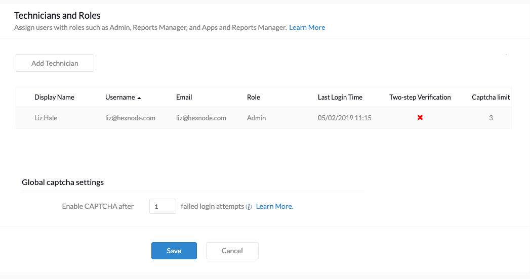 Configuring Custom Technician Roles using Hexnode MDM - Help