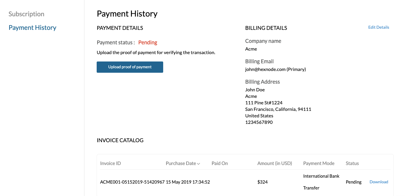 Payment history details.