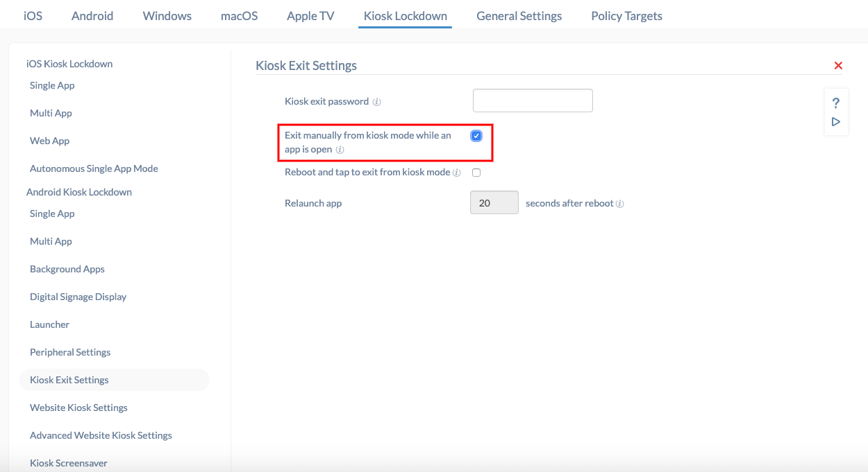 How to exit Android kiosk mode in Hexnode MDM - Help Documentation