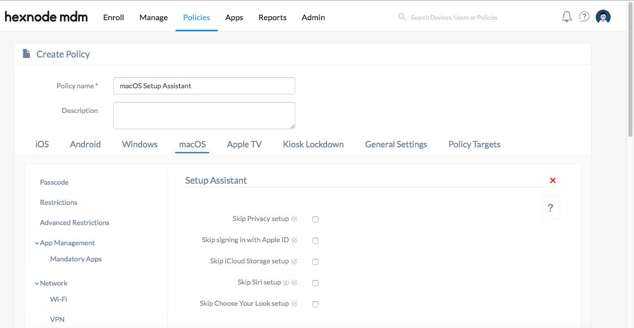 Configure Setup Assistant for macOS devices using Hexnode MDM
