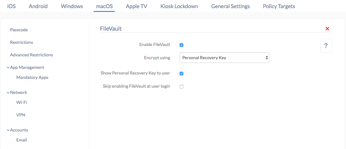 Manage Filevault with Hexnode MDM