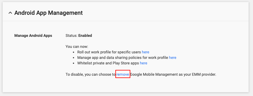 Remove Google Mobile Management listed as EMM provider.