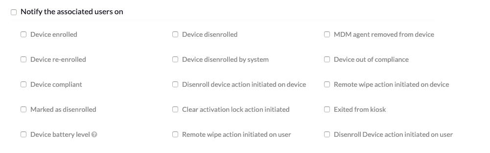 Notification alerts via e-mail using Hexnode MDM