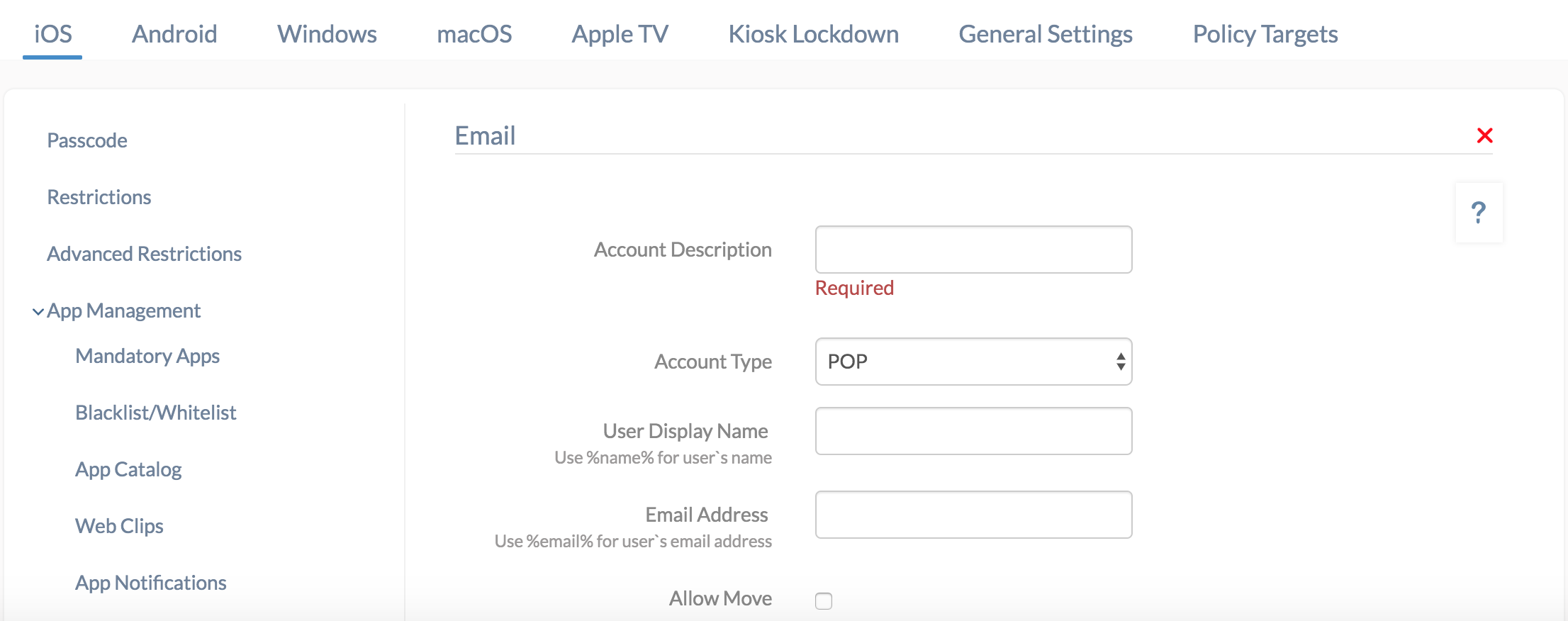 Email configuration for iOS