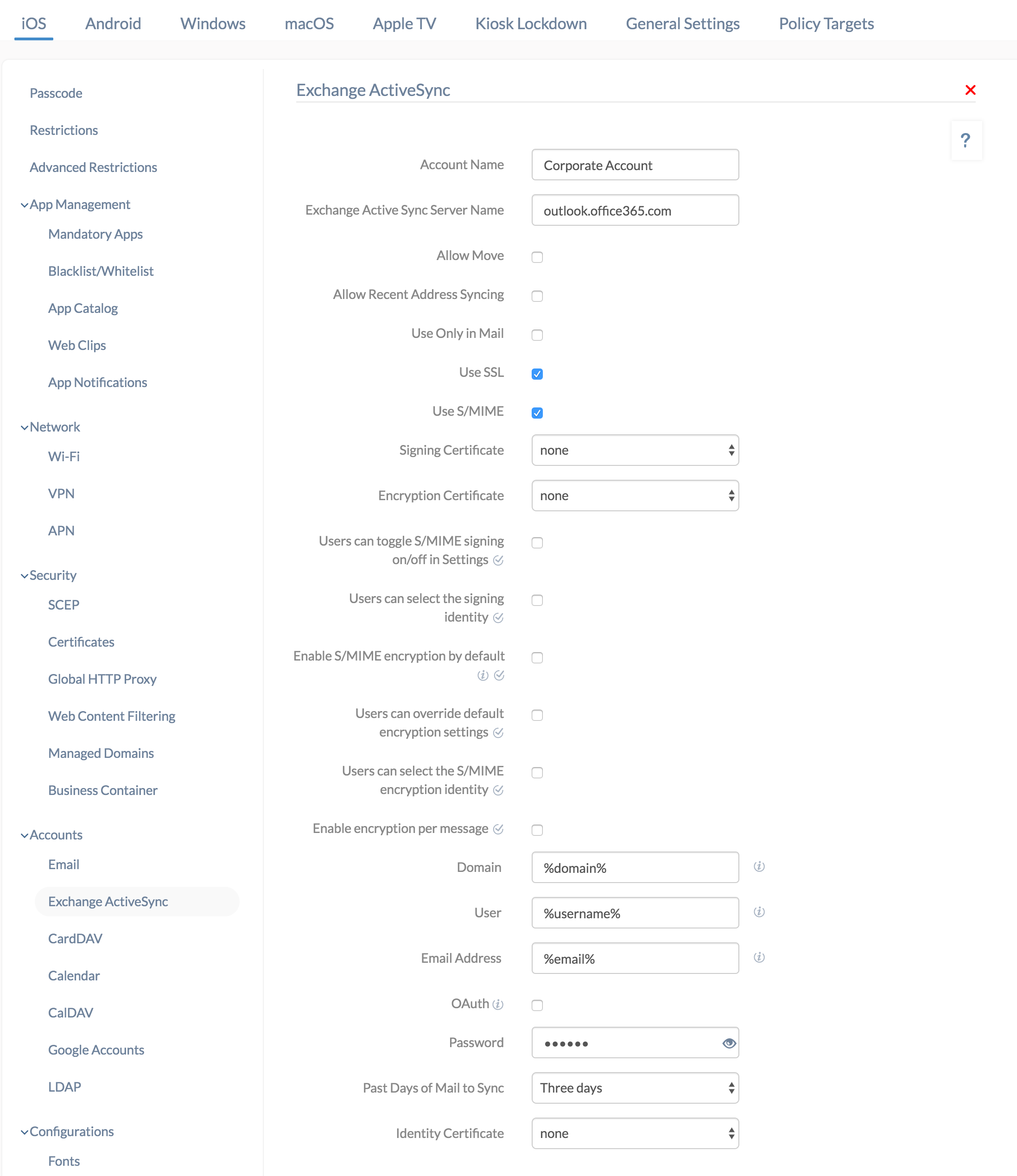 configure active sync on iOS devices