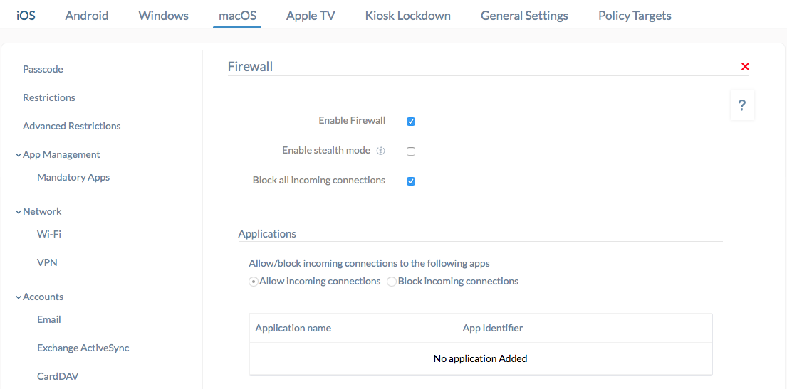 How to Configure Firewall for Mac with Hexnode MDM?