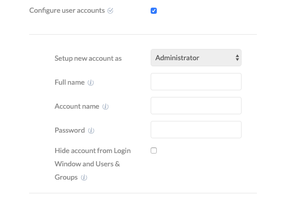 Add admin account on macOS devices.