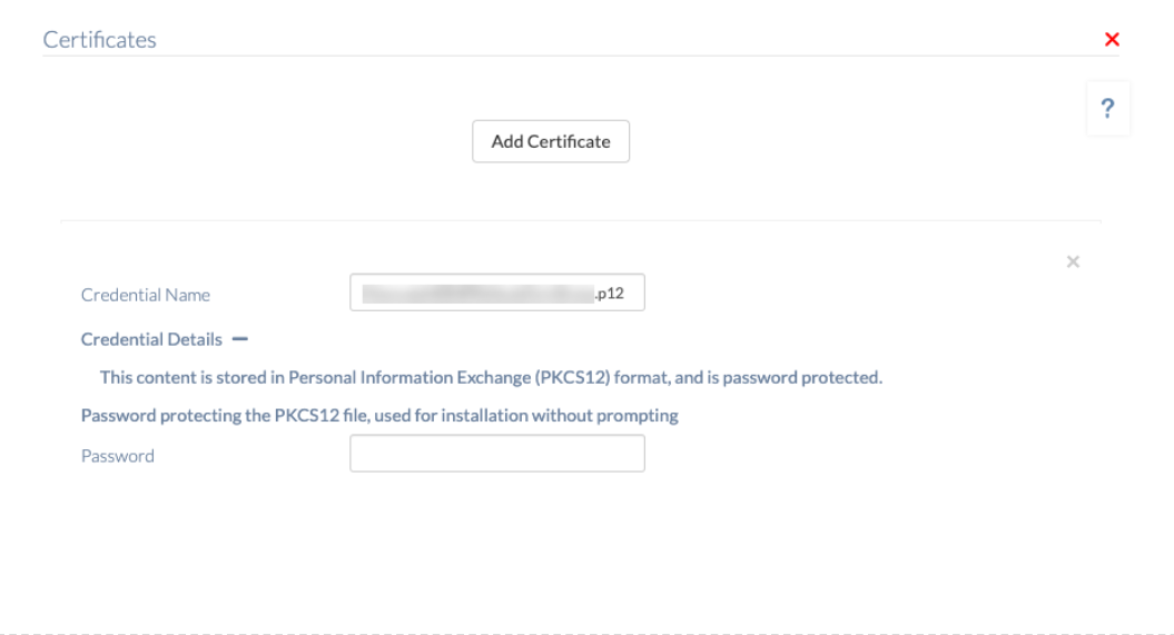 Password for PKCS12 encrypted certificate