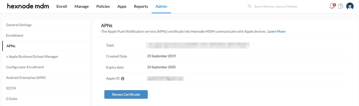 Configure APNs certificate