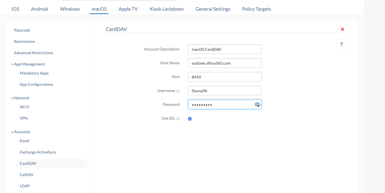 Configure CardDAV for macOS devices using Hexnode