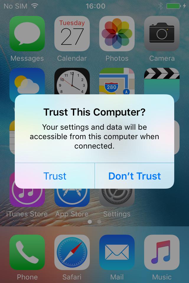 Trust a device in Apple Configurator
