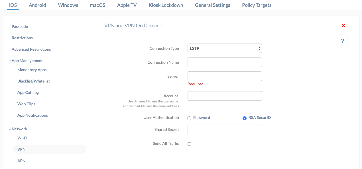 Hexnode VPN policy for iOS