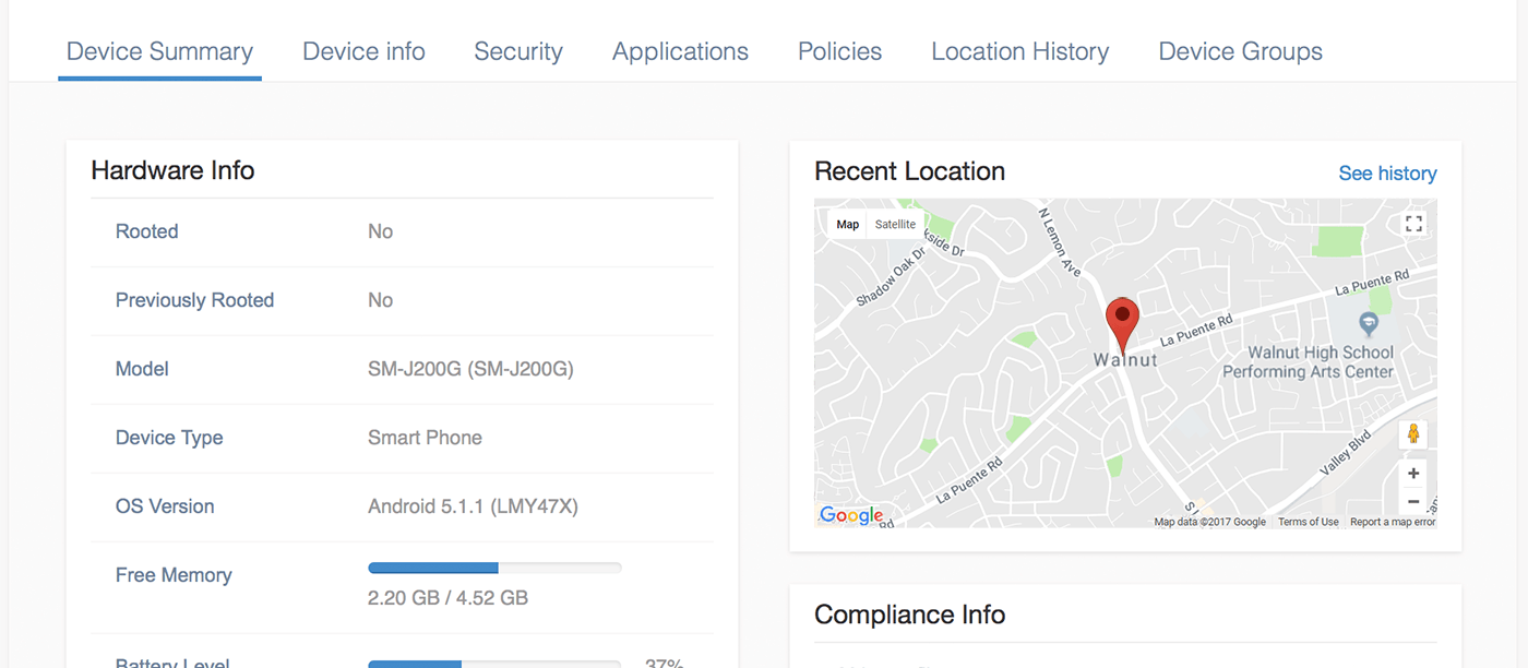 Recent location of the device on device summary page