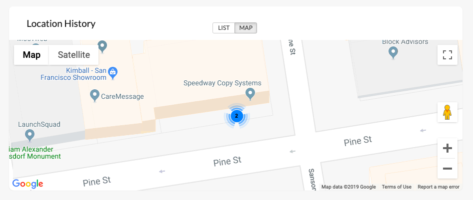 Location history tab in device details