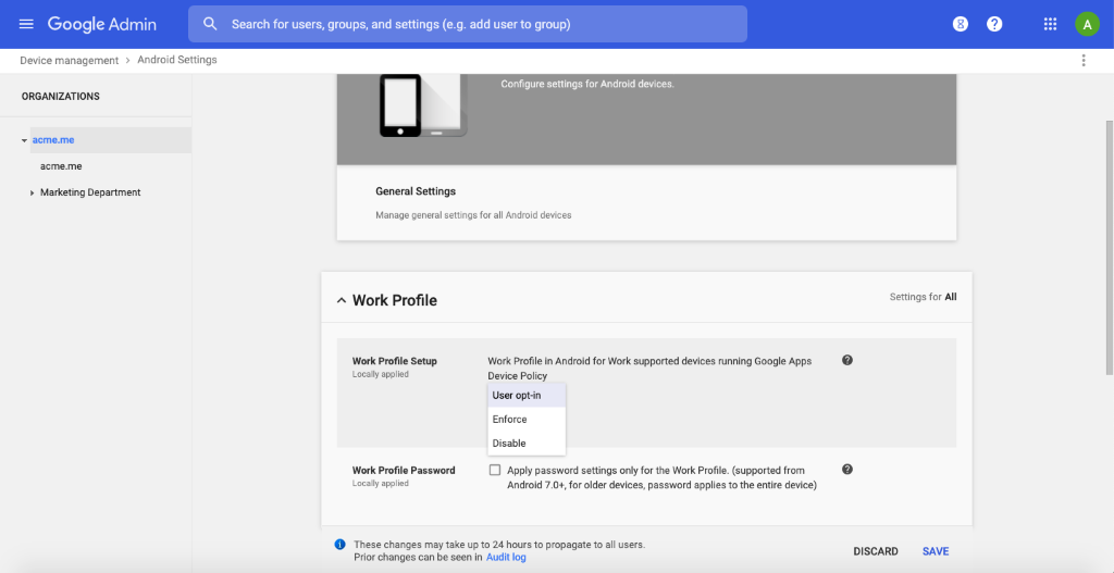 Choose the option enforce or disable the work profile setup while enrolling devices in Android Enterprise using G Suite