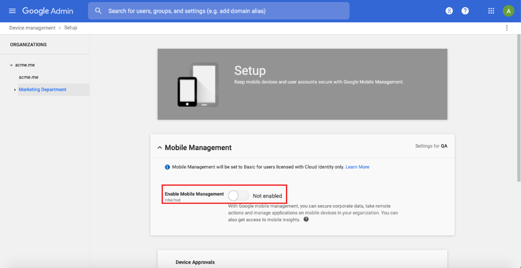 Disable the mobile management option to prevent Google MDM being enabled