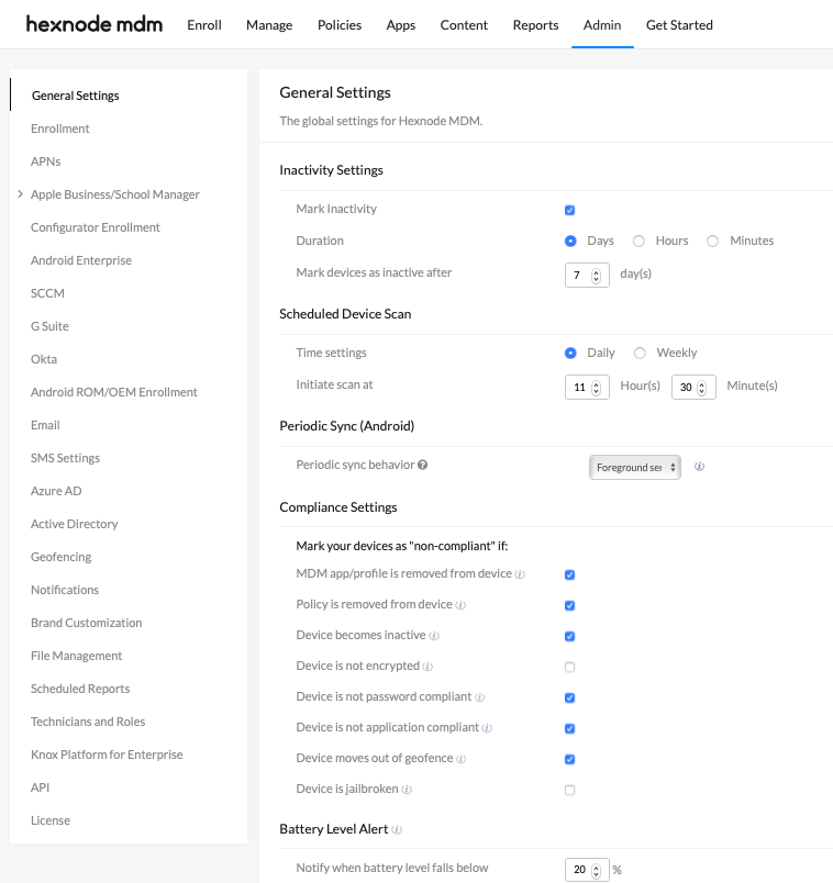 Configure MDM with Admin tab
