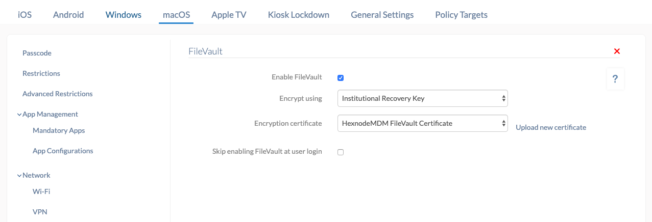 Encrypt Mac using Institutional Recovery key